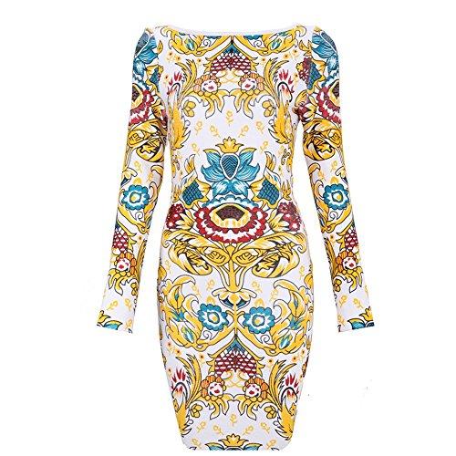 HLBandage Women Long Sleeve Print Rayon Bandage Dress Multicolor