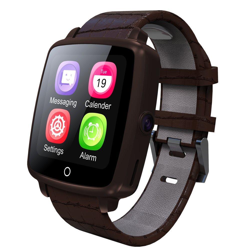 Correa de piel bluetooth Smartwatch u11 C inteligente reloj soporte SIM tarjeta si HD Protector de Smartwatch reproducción de video para Iphone 6 6s ...