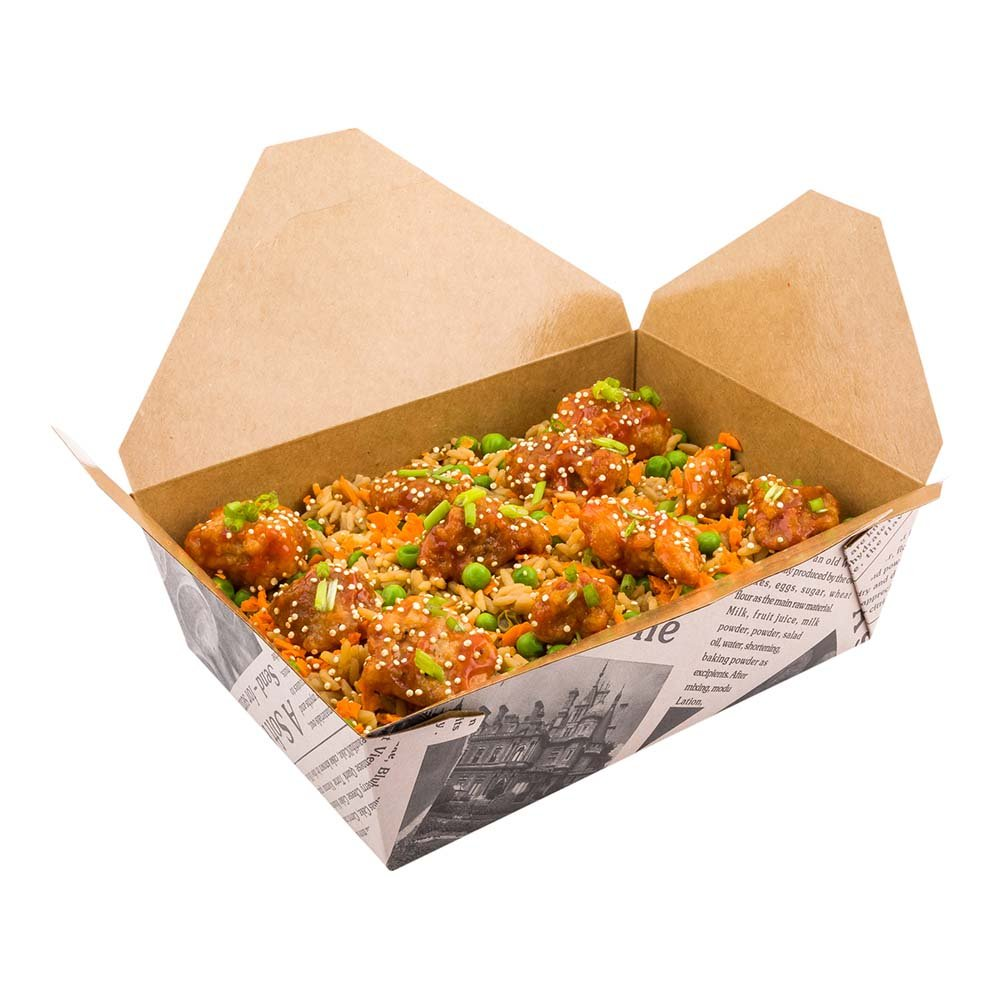 Disposable Take Out Container, #3 To Go Box - Eco-Friendly Paper - Rectangle - 71 oz - Newsprint with Kraft Interior - 200ct Box - Restaurantware