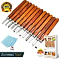 ZONMAS Wood Carving Tools [2018 Version] Perfect Design for Beginners and Experienced Carvers. Ideal for Handmade Crafting, Pumpkins Includes: 12 Sculpting Chisels, Protective Covers eBook Guide Wipe