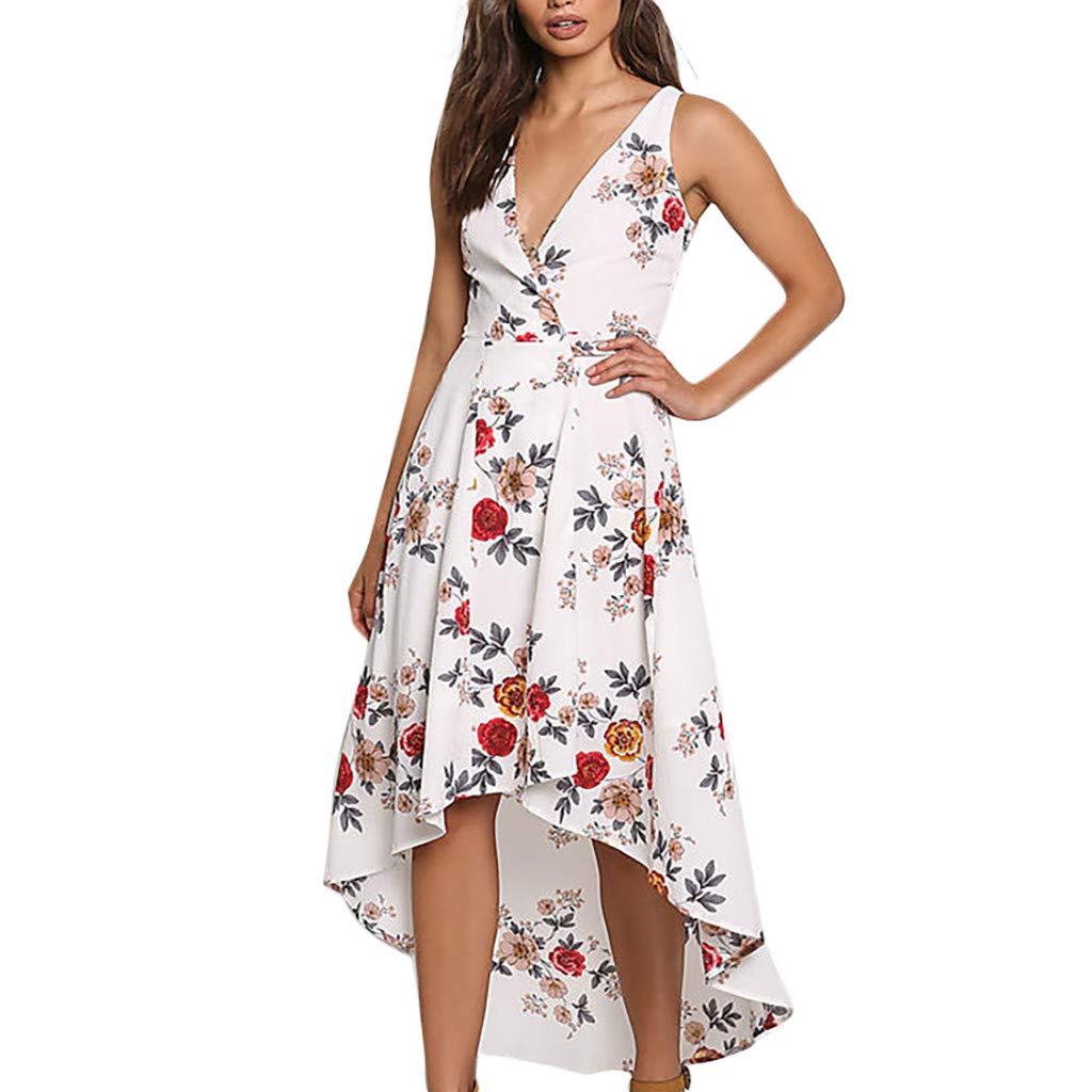 Nmch Women's Fashion Flower Print V-Neck Sleeveless High Low Maxi Dresses Summer Casual Plus Size Beach Sundress(White,XXXL)