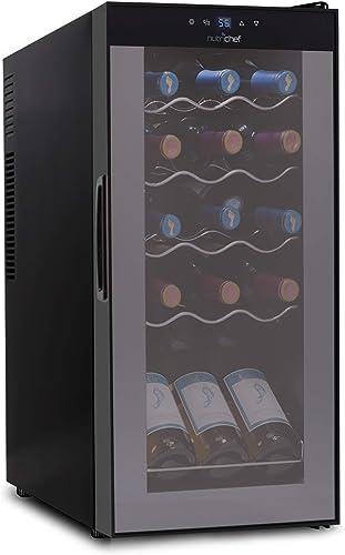 15 Bottle Wine Cooler Refrigerator - White & Red Wine Fridge Chiller Countertop Wine Cooler
