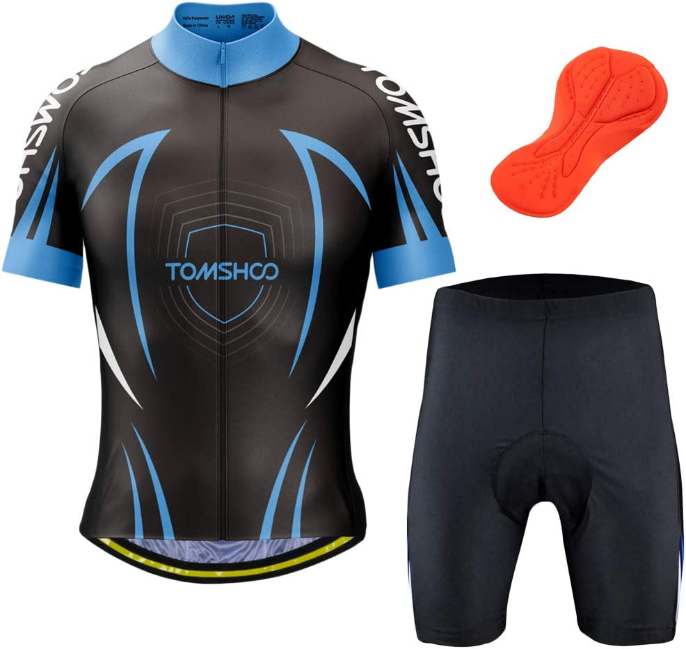 TOMSHOO Maillots Bici Hombre MTB, Conjunto Ciclista Corto Hombre, Traje Ciclismo Corto Verano Camiseta y Pantalones Cortos Acolchados (L): Amazon.es: Deportes y aire libre