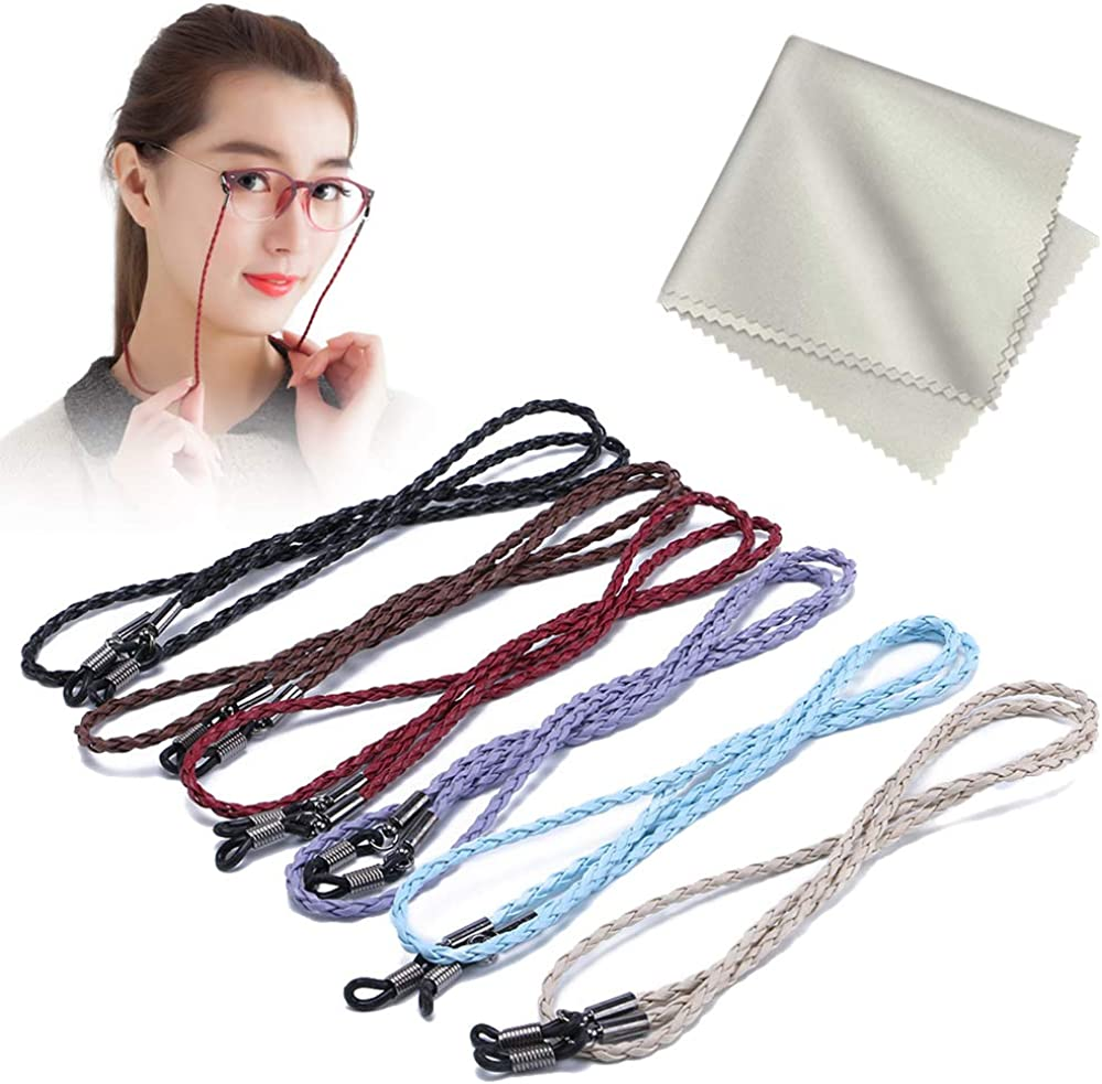 Cordones de anteojos de 6 piezas Cadena de cadena Cordón de anteojos de cuero de PU con paño de microfibra para hombres y mujeres (6 colores)