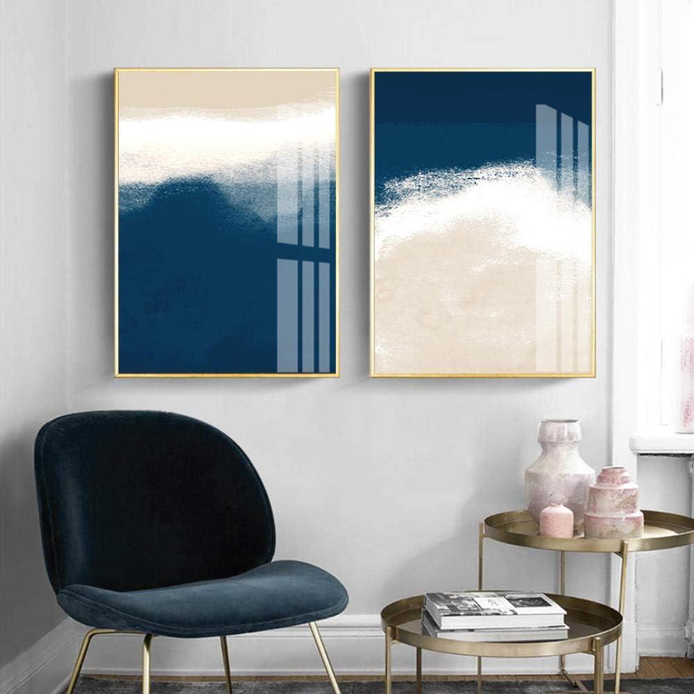 DHLHL Acuarela Azul Marino Beige Cuadros Abstractos Lienzo Pintura Galería Arte de la Pared Carteles e Impresiones para la Sala de Estar Decoración del hogar 50x70cmx2 sin Marco