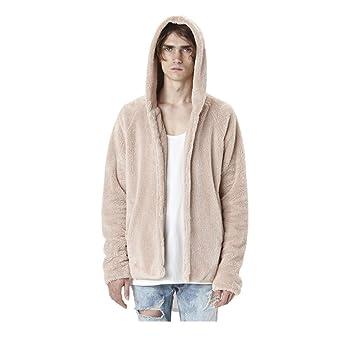 Qiusa Abrigo para hombre, Moda Sólido Faux Fur Fleece Abrigo Casual Sudadera con capucha Chaqueta de ...