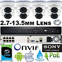 USG Business Grade Sony IMX326 Chip 5MP 2592x1944 : 8 Camera Security System : 16 Channel 6MP Security NVR + 8x 2.7-13.5mm Lens Dome Cameras With Mounting Base + 1x 4TB HDD : Phone App