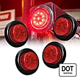 4PC 2'' Round 10 LED Clearance Light [2 in 1 Reflector] [Polycarbonate Reflector] [10 LEDs] [D.O.T. Certified] [2 Year Warranty] Side Marker Light for Trucks and Trailers - Red