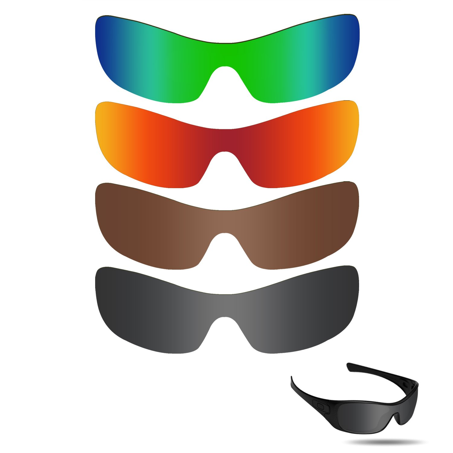 Fiskr Anti-saltwater Replacement Lenses for Oakley Antix Sunglasses 4 Pairs Pack by Fiskr