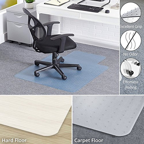 Office Chair Mat for Carpet,36'' X 48'' Floor Mat for Carpeted Non Breakable Polycarbonate Mats for Low, Standard and Medium Pile Carpets | with Lipped | Carpet Protector by WSTECHCO