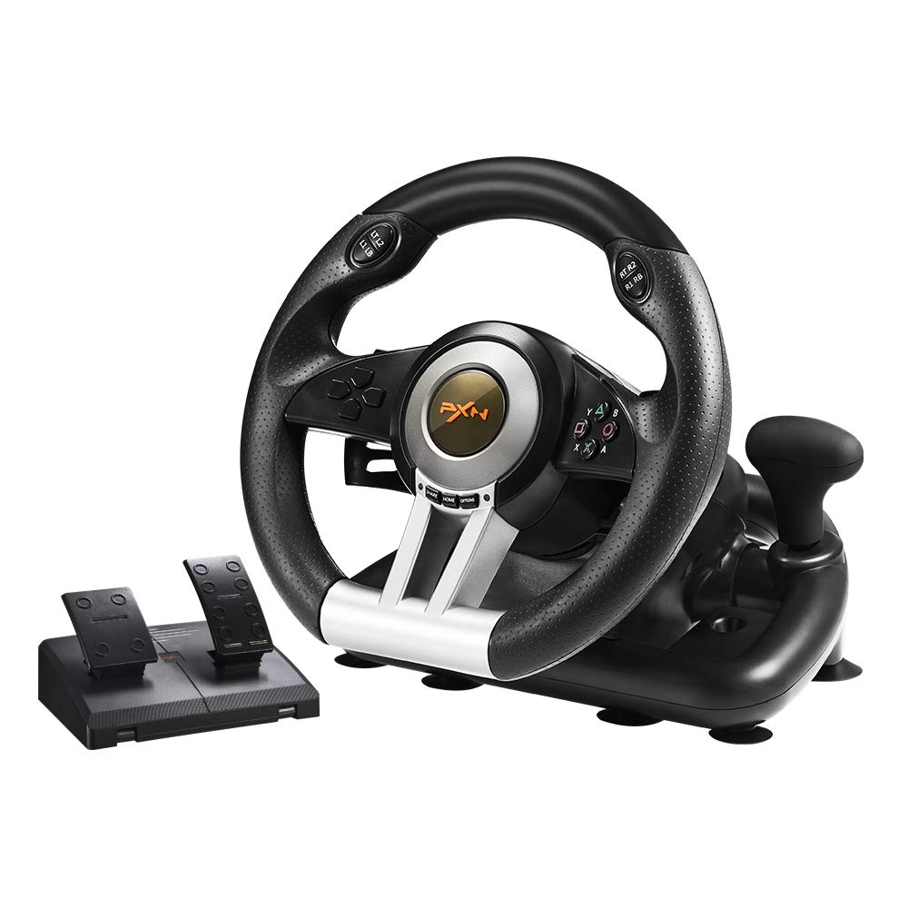 PC Racing Wheel, PXN V3II 180 Degree Universal Usb Car Sim Race Steering Wheel with Pedals for PS3, PS4, Xbox One…