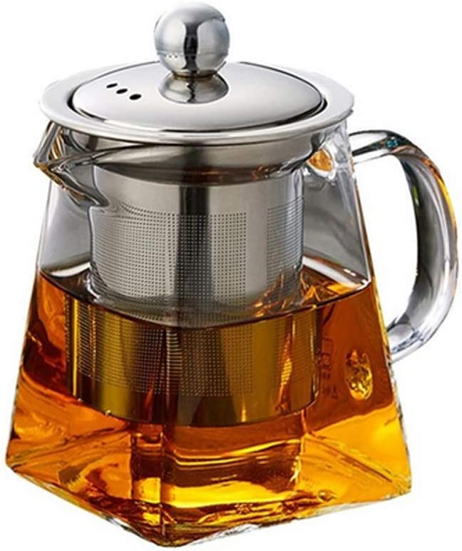 lujiaoshout Clear High Borosilicate Glass Tea Pot with Removable Stainless Steel Infuser Heat Resistant Loose Leaf Teapot Microwavable and Stovetop Safe Tea Set