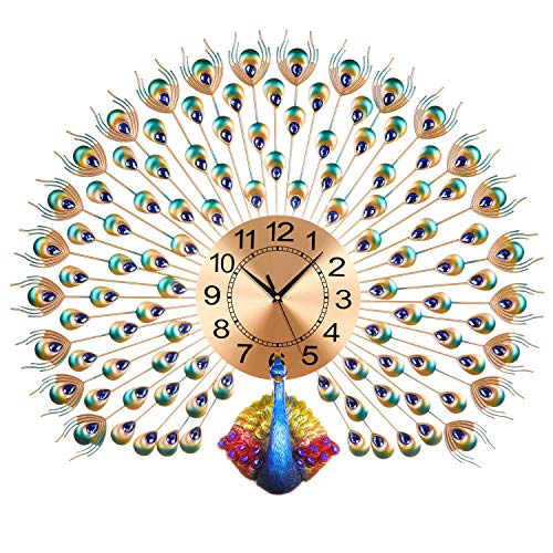 LANGSHI Peacock Wall Clock Wall Battery Power