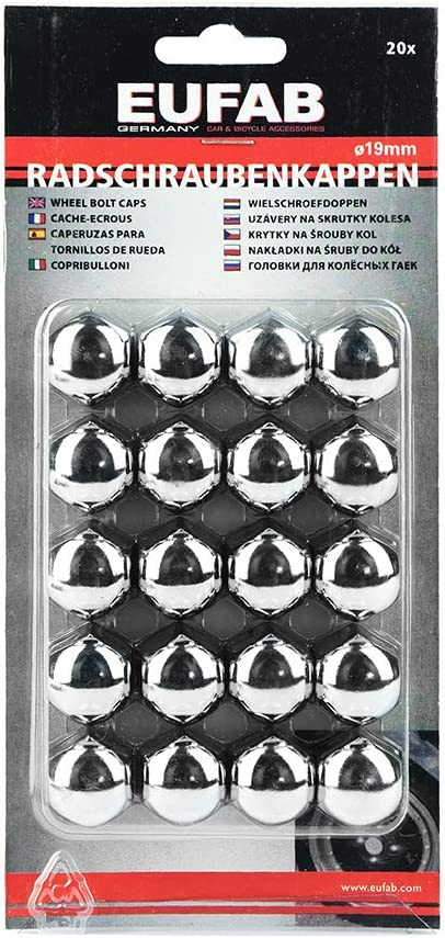 Eufab 15231-20 Cappucci cromati per viti di ruota in metallo 19 mm
