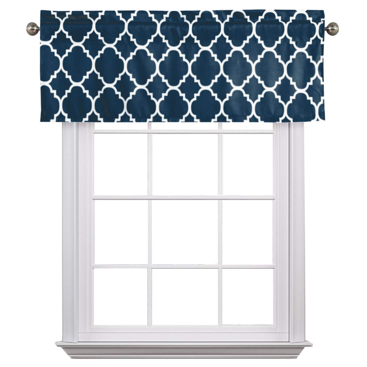 Flamingo P Moroccan Navy Valance Curtain Extra Wide and Short Window Treatment for for Kitchen Living Dining Room Bathroom Kids Girl Baby Nursery Bedroom 52'' X18''