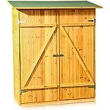 Melko® XXL Geräteschrank Gerätehaus Geräteschuppen Gartenschrank, aus Holz, braun, 162 x 140 x 75 cm