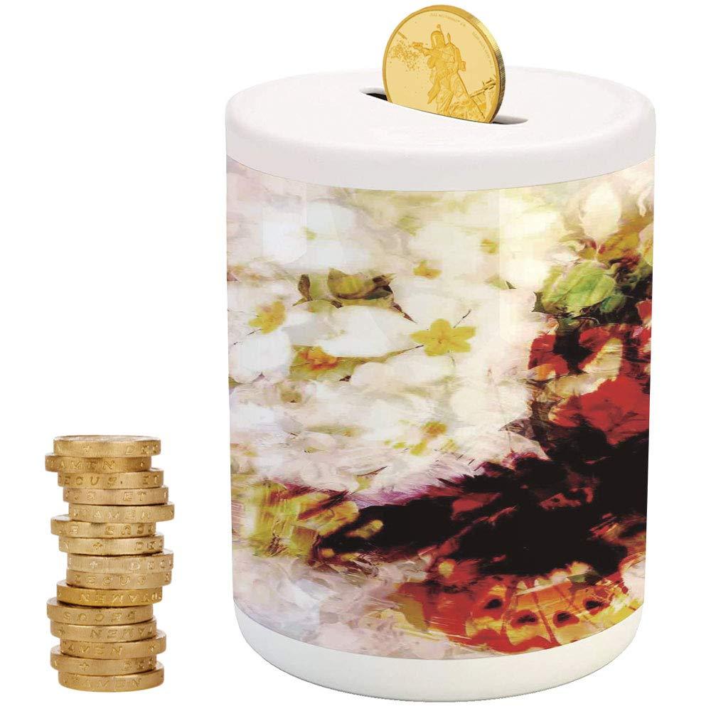 iPrint フクロウ 貯金箱 子供用 伝統的なブタの貯金箱 水彩画 手描き かわいい フクロウ 家族 ポートレート アーティスティック ビンテージ ボヘミアン 野生動物の鳥 3.6