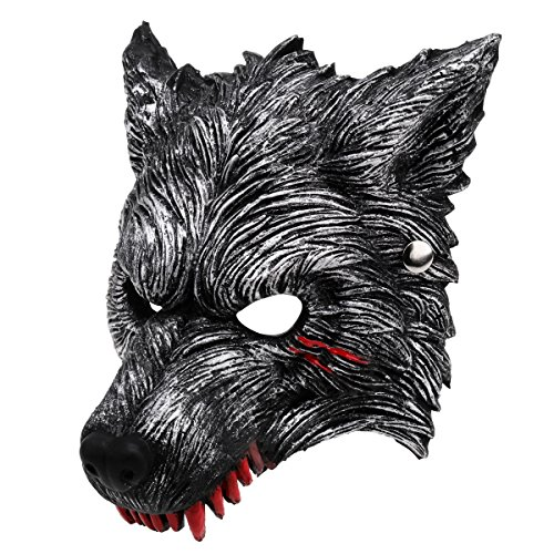 Unomor Halloween Werewolf Mask with Blood Stains, Dark Grey Half Wolf Mask with Vivid Design for Party -