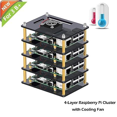 iUniker Raspberry Pi Cluster Case, Raspberry Pi Case with Cooling Fan and  Raspberry Pi Heatsink for Raspberry Pi 3 Model B+, Pi 3 B, Pi 2 B, Pi B+ (4