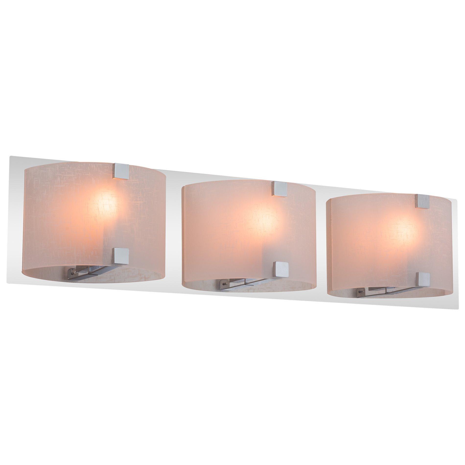 Kira Home Orion 3-Light Polished Chrome 25'' Bathroom Vanity Light, White Linen Glass Shades