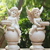 OwMell Set of 2 Cherubs Angels Statue Candle Holder, 9.5 Inch Weathered Antique Resin Angels Garden Statue Figurine for…