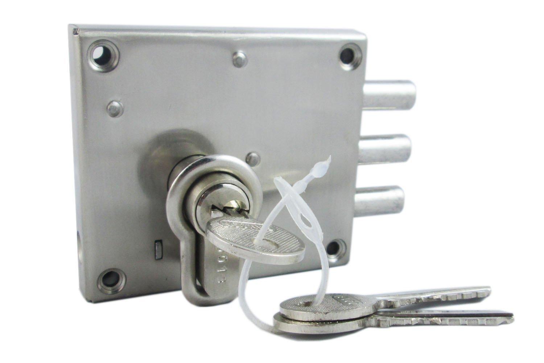 Ramson Slit N Fit Steel Finish Bullet Door Inter Lock With Knob Cyl Key Machinism (Slit N Fit Knob Cyl Bcp)