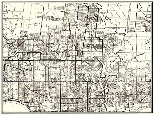 1937 Vintage Toronto Ontario Map Original Antique Map of Toronto Canada Not a Reprint Gallery Wall Art Office Decor #1135