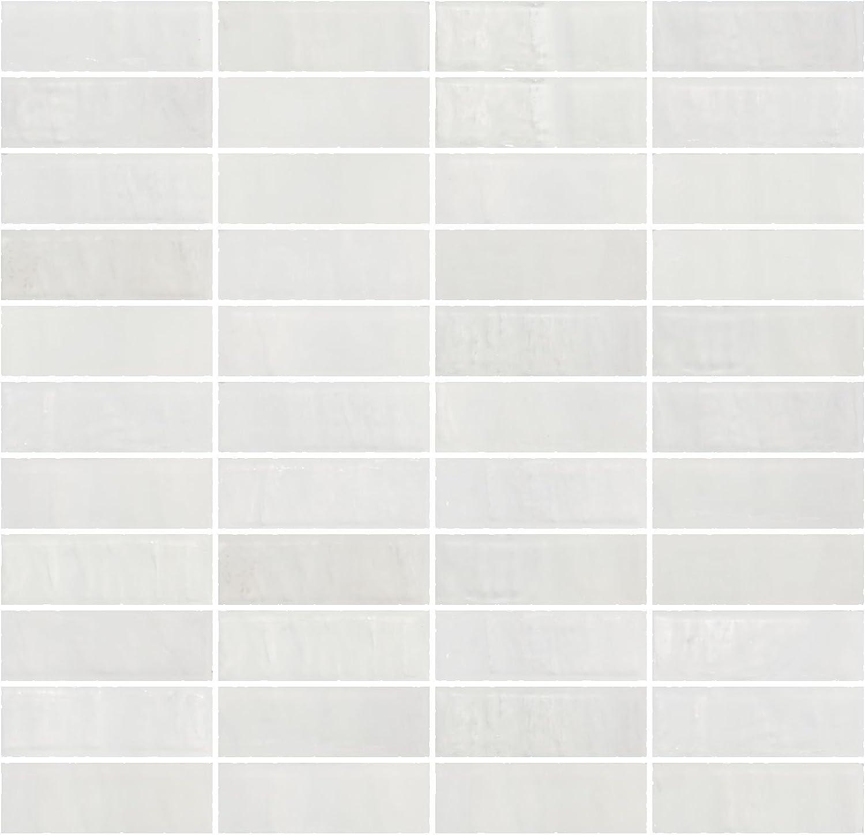 Susan Jablon Mosaics 1x3 Inch Matte Cloud White Glass Subway Tile Reset In Stacked Layout