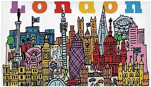 C COABALLA London Alfombra de baño Rectangular, Estilo de Dibujos ...