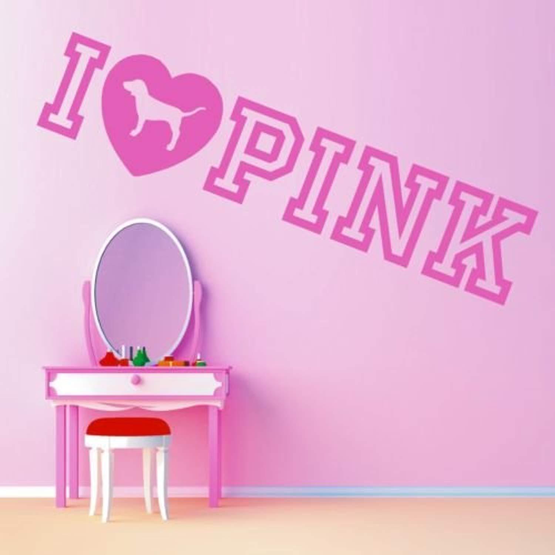 Pink Victorias Secret I Love Pink Art Quote Wall Decals Decor Vinyl Sticker SK10399 (w35 h8)