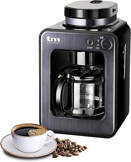 TM Electron TMPCF020G Mini cafetera de Goteo con Molinillo Grano, 4 Tazas, 600W y Filtro Lavable Compatible con café ...