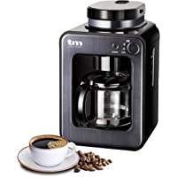 TM Electron TMPCF020G Mini cafetera de Goteo con Molinillo Grano, 4 Tazas, 600W y Filtro Lavable Compatible con café…