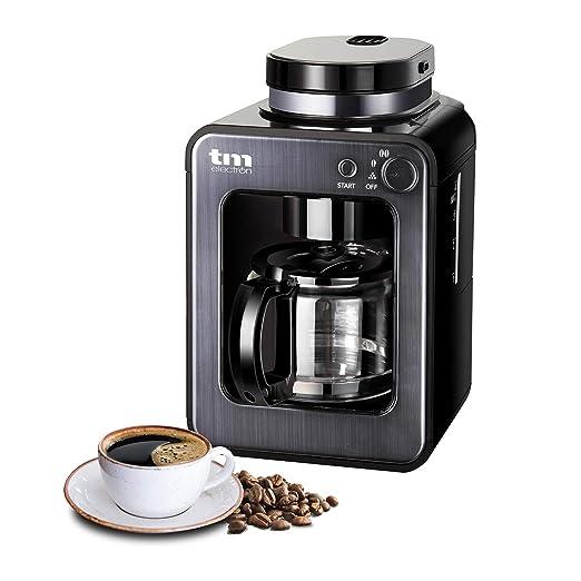 TM Electron TMPCF020G Mini cafetera de Goteo con Molinillo Grano, 4 Tazas, 600W y Filtro Lavable Compatible con café molido, Acero Inoxidable, Grafito