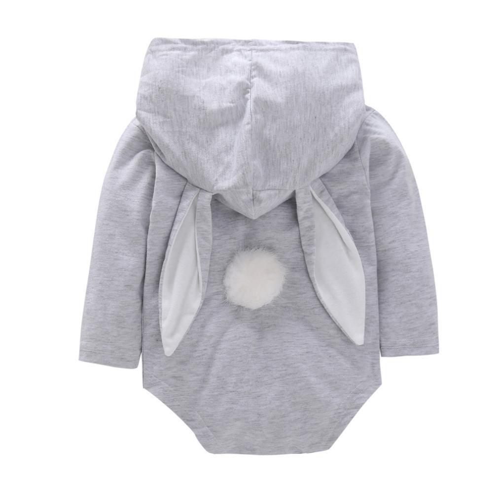 kaiCran Cute Baby Boys Girls Easter Bunny Long Sleeve Bodysuit Cartoon Animal Rabbit Hooded Romper with Hair Ball Tail