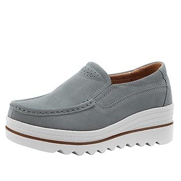 Zapatos Planos Muffin Mujer Sneakers Cuero Zapatos Casuales Creepers Mocasines ❤ Manadlian (Gris,