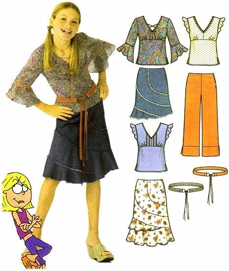 Lizzie McGuire Niñas Falda Pantalones Top cinturón simplicidad ...
