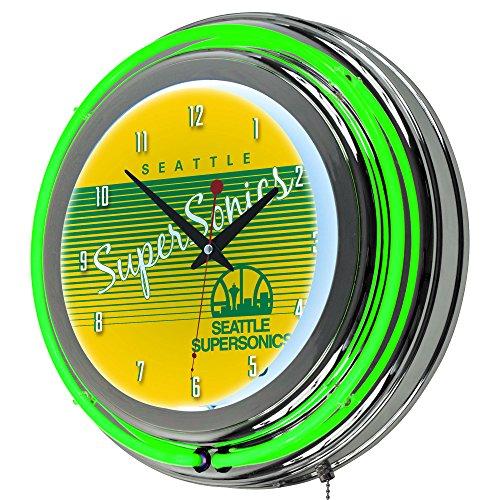 NBA Seattle SuperSonics Chrome Neon Clock, One Size, Chrome