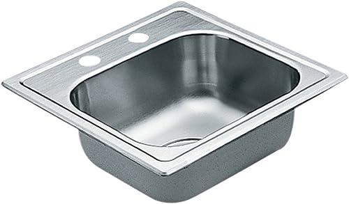 Moen 2200 Series 22 Gauge Single Bowl Drop In Sink, 15 x 15, Stainless Steel G2245622