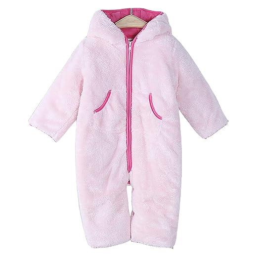 3b6d256feaa7 Amazon.com  Infant GirlsFleece Jumpsuit Bear Hood Long Sleeve Zipper ...
