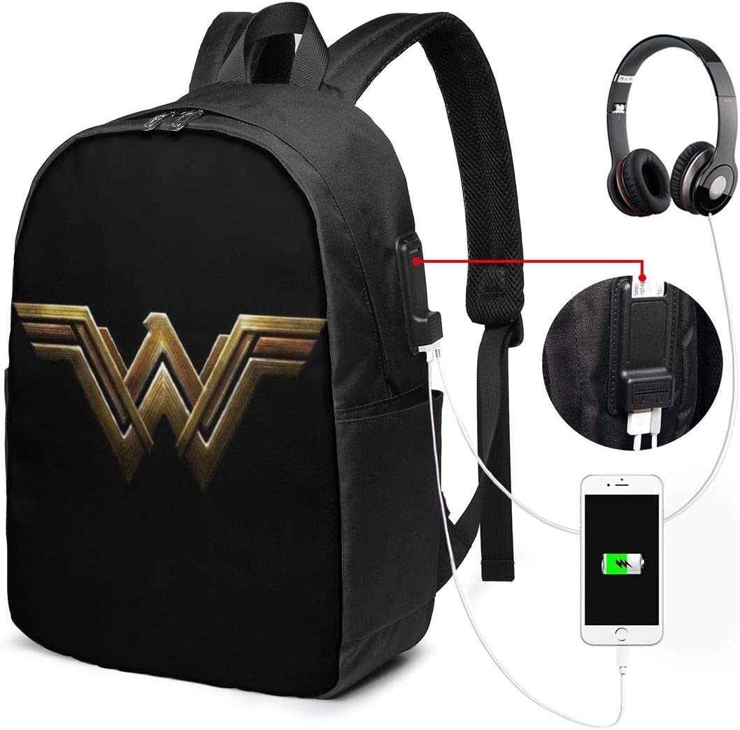 Won-Der Woman 17 Inch Laptop Backpack Travel School Backpack with USB Charging Port for Women Men - Water Resistant and Two-Way Zippers