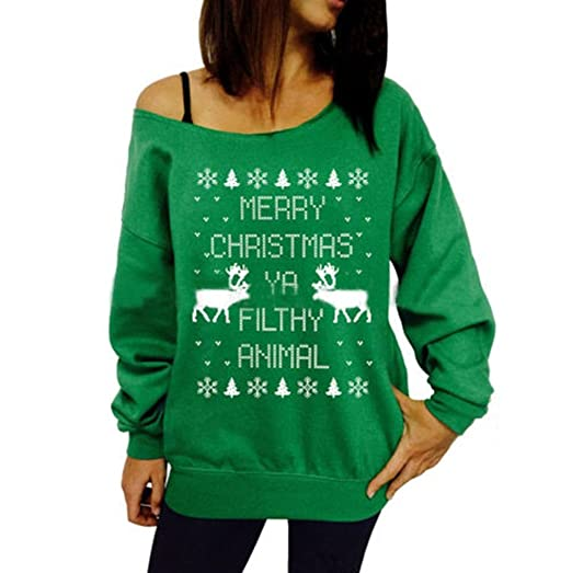 c8c3bc7fe84 Riveroy Women s Off Shoulder Ugly Christmas Sweater Reindeer Xmas Pullovers  S Green
