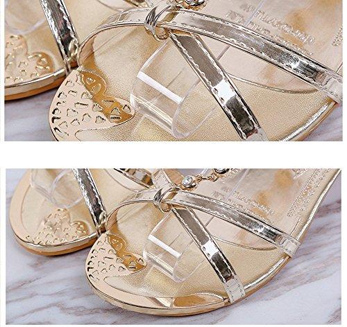 Scothen Sandalias de punta abierta de la Mujer T-Brace para mujer de las sandalias flip flop zapatos planos verano del estilo de Bohemia diamantes de imitación del tobillo Trenzado T-Correa sandalias Gold