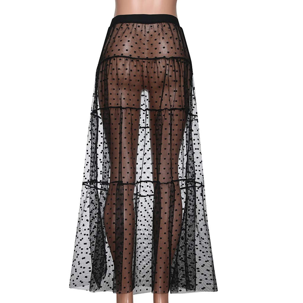 Ladies Tulle Dresses Summer Solid Polka Dot Cocktail Party Mesh Patchwork High Waist Beach Long Skirt