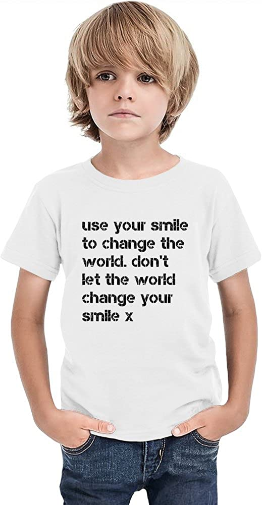db4dbb9b use your smile to change the world. don't let the world Boys T-shirt 12+  yrs: Amazon.co.uk: Clothing