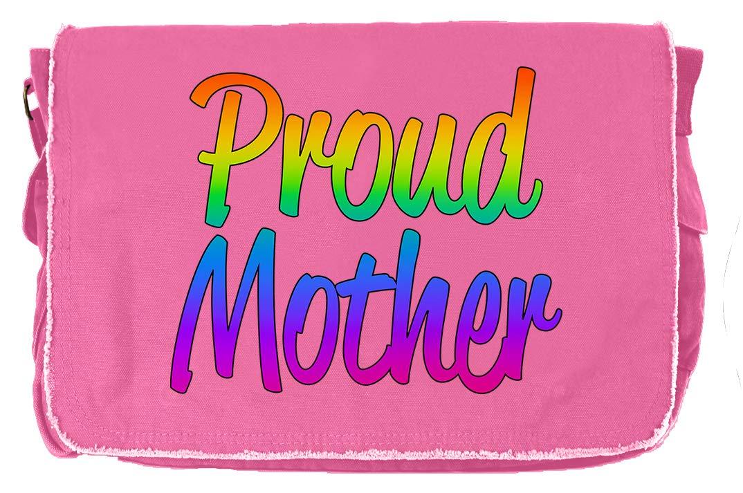 Tenacitee Proud Mother Flamingo Raw Edge Canvas Messenger Bag
