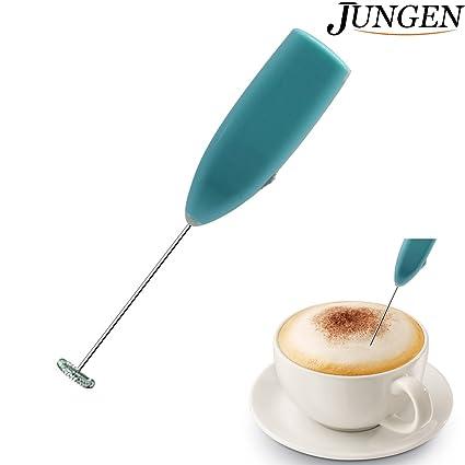 JUNGEN Espumador de Leche de Acero Inoxidable Portátil Batidor de Eléctrica de Mano para Cafés Huevos