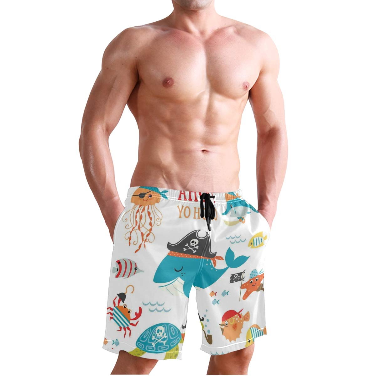 KVMV African Tribal Ethnic Sun Pattern with Ombre Effect Man Quick Dry Beach Shorts
