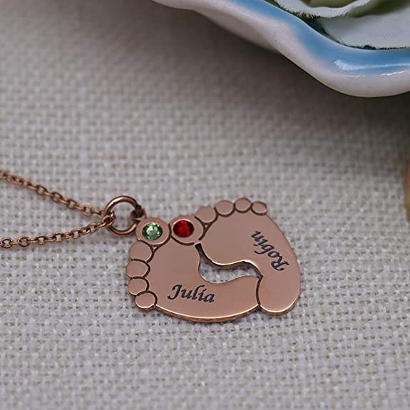Yandam Inlay Birthstone and Custom Name Baby Footprint Necklace Custom Gift