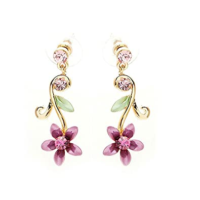 Glamorousky Purple Flower Golden Pair Earrings with Austrian Element Crystals (1381) 1qAECRPNl