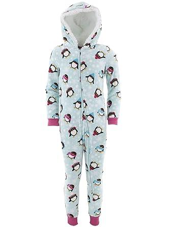 b0631675d Amazon.com: Rene Rofe Big Girls' Penguin Blue Hooded One-Piece ...